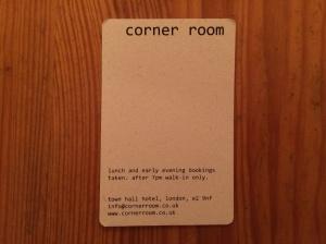 Corner Room business card
