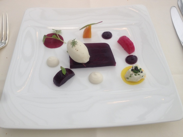 Terrine of baby beetroot, mozzarella and a horseradish sorbet