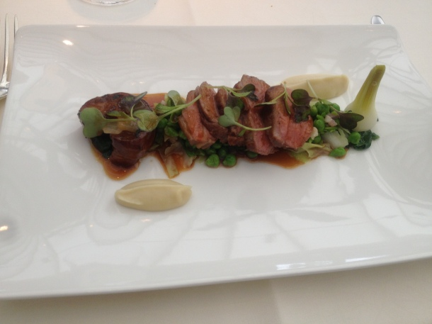 Assiette of Cornish lamb, peas, bacon and sweet garlic puree