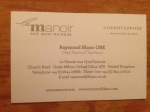 Le Manoir business card