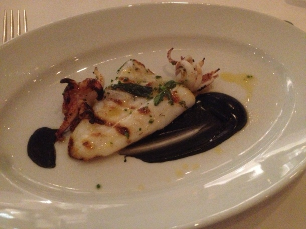 Grilled squid and ink sauce