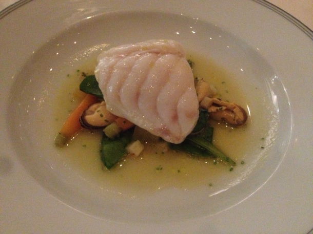 Monkfish, root vegetables, mussels and sea beet