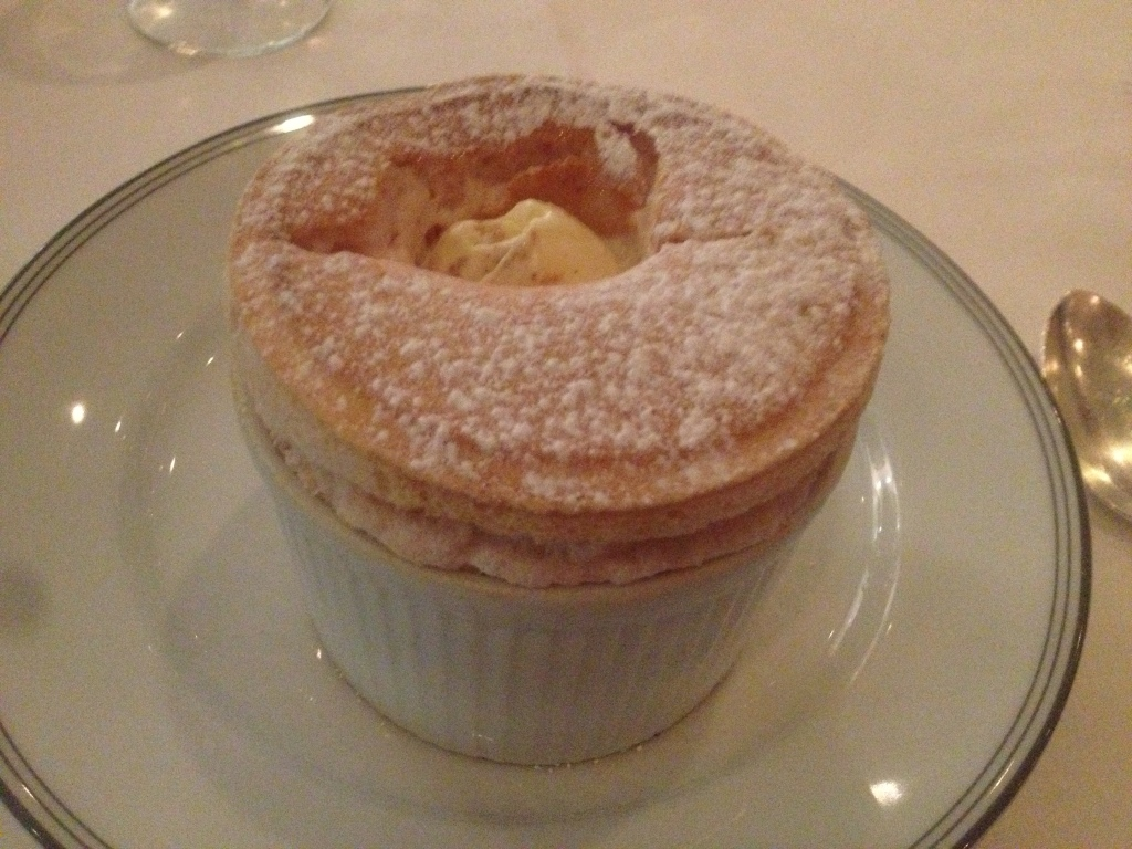 Quince souffle with gingerbread ice cream