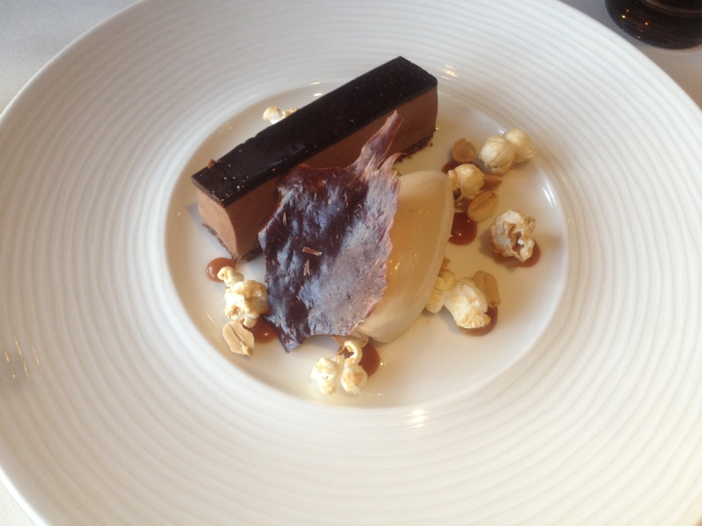Chocolate and peanut delice, popcorn and caramel ice cream