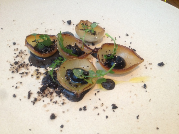 Vintage onions with liquorice, truffles and bittercress