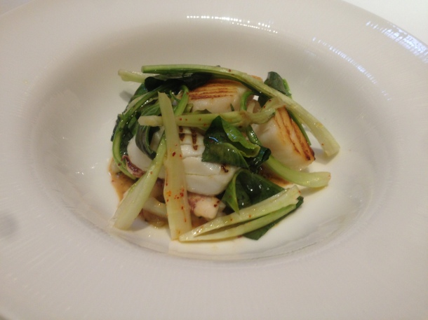 Grilled cod, baby squid with Vadouvan butter, sorrel with onion confit and Puntarella