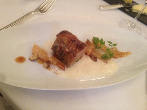 Roasted dodine of cornfed capon stuffed with chestnuts and truffle with confit salsifis