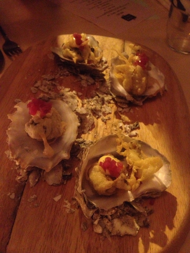 Oysters and beef fat mayo