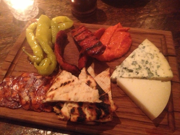Sliced meat and cheese plate