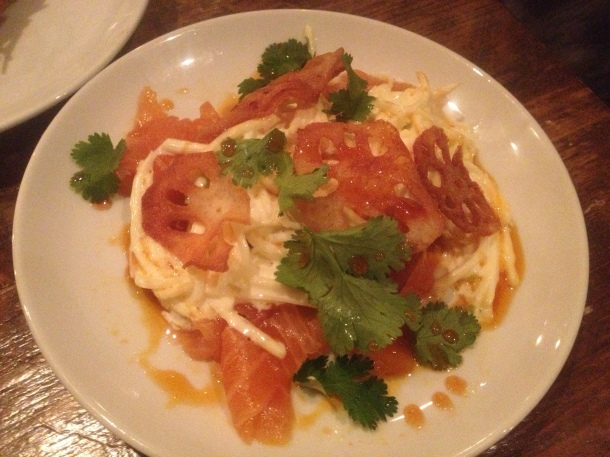 Cured salmon, celeriac remoulade and smoked paprika maple dressing