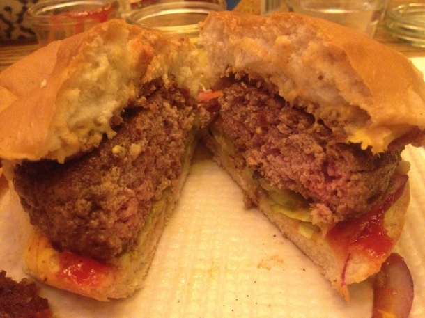 The burger's innards
