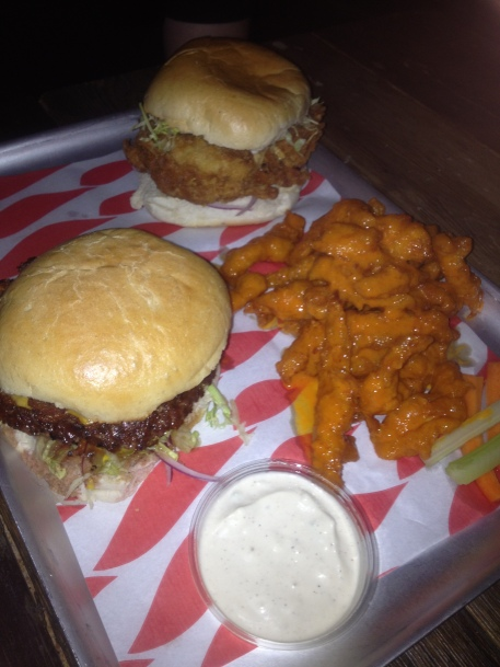 Bacon cheeseburger, Dirty Chicken burger and Monkey Fingers