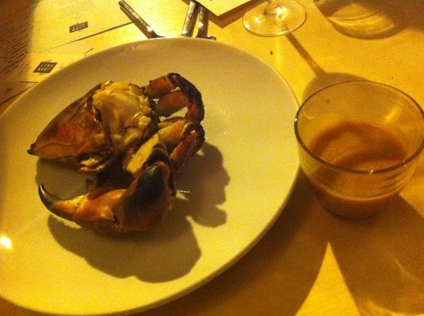 Baked crab with bisque butter