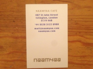 Naamya Cafe business card