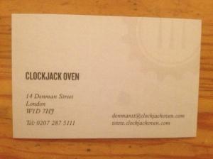 Clockjack Oven business card