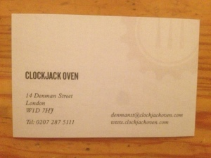 Clockjack Oven business card
