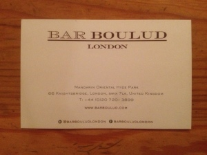 Bar Boulud business card
