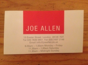 Joe Allen business card
