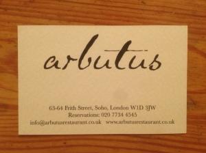 Arbutus business card