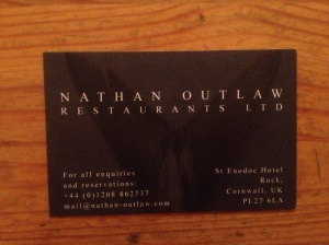 Nathan Outlaw business card