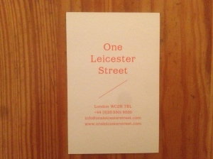 One leicester street business card