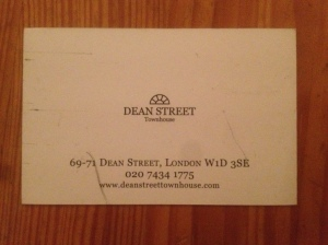Dean Street Townhouse business card