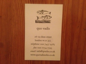 Quo Vadis business card