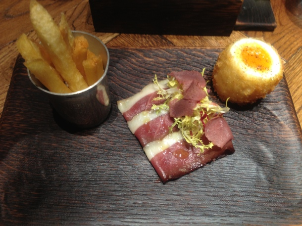 Duck ham egg and chips