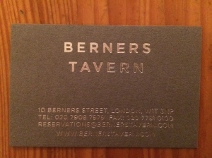 Berners Tavern business card
