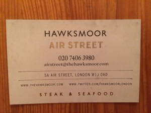 Hawksmoor business card