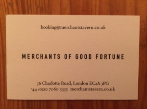 Merchants Tavern business card
