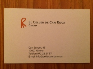 El Celler de Can Roca business card