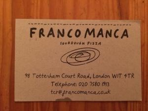 Franco Manca business card