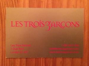 Les Trois Garcon business card