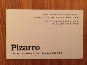 Pizarro business card