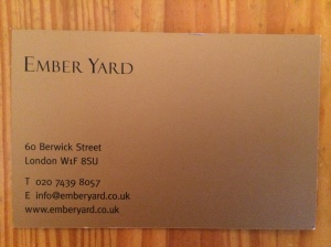 Ember Yard business card
