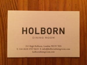 Holborn Dining Room business card