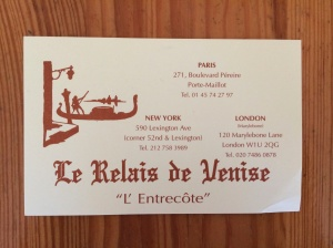 Le Relais de Venise business card