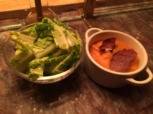 lettuce hearts and maple-glazed sweet potato mash