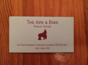 The Ape and Bird business card