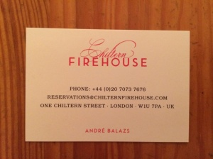 Chiltern Firehouse business card