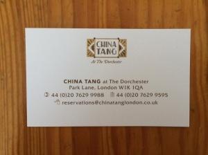 China Tang business card