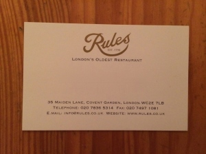 Rules business card