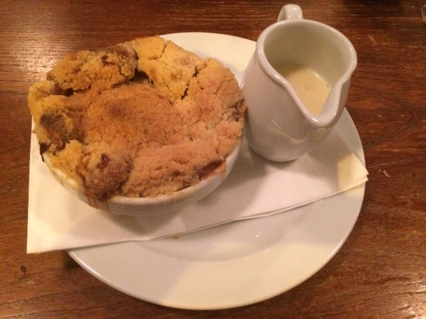 Apple crumble at St John Bread and Wine