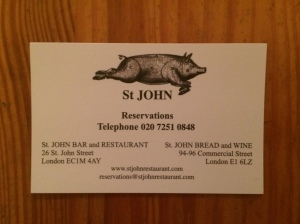 St John Bread and Wine business card