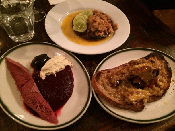 Ox tongue, buttered shrimp and crumpet, scotch bonnet and pork fat on toast at Camberwell Arms