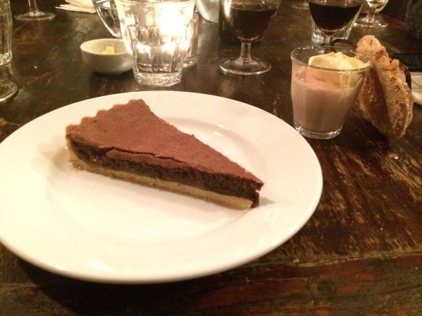 Chocolate and marmalade tart and blood orange pot at Camberwell Arms