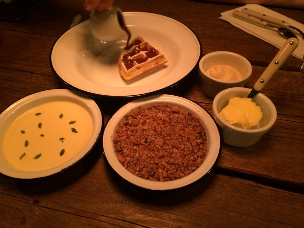 Waffles, apple crumble, lemon posset at Barnyard