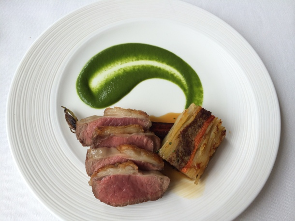 saddle of lamb, wild garlic purée and pressed lamb hot pot at London House