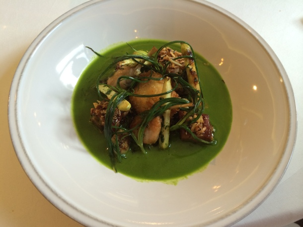Veal belly, frog's legs, snails, wild garlic at Marcus